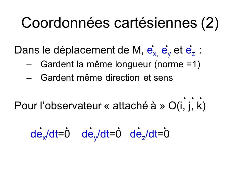 Coordonnées cartésiennes (2) Dans le déplacement de M, e x, e y et e z : –Gardent la même longueur (norme =1) –Gardent même direction et sens Pour lob