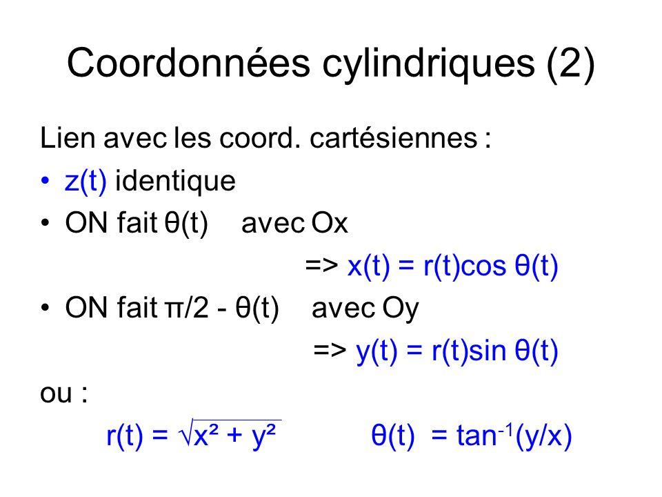 Coordonnées cylindriques (2) Lien avec les coord. cartésiennes : z(t) identique ON fait θ(t) avec Ox => x(t) = r(t)cos θ(t) ON fait π/2 - θ(t) avec Oy