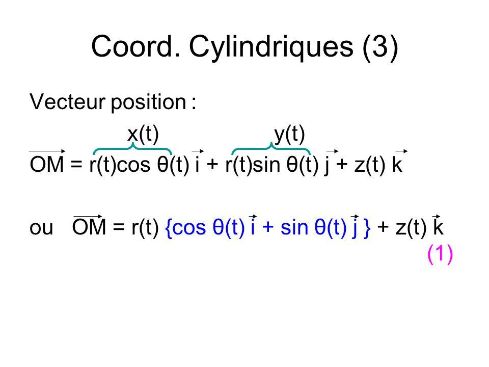 Coord. Cylindriques (3) Vecteur position : x(t)y(t) OM = r(t)cos θ(t) i + r(t)sin θ(t) j + z(t) k ou OM = r(t) {cos θ(t) i + sin θ(t) j } + z(t) k (1)
