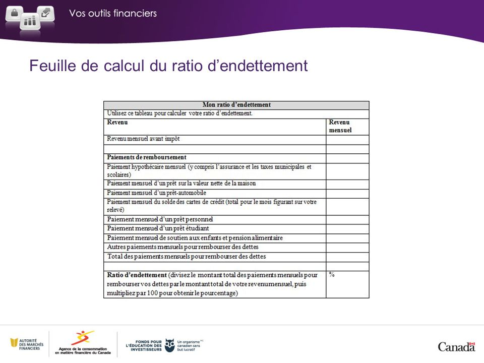 Feuille de calcul du ratio dendettement