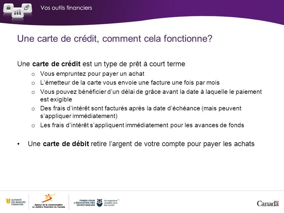 Une carte de crédit, comment cela fonctionne? Une carte de crédit est un type de prêt à court terme o Vous empruntez pour payer un achat o Lémetteur d