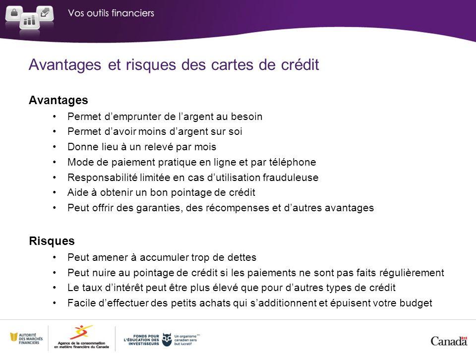 Avantages et risques des cartes de crédit Avantages Permet demprunter de largent au besoin Permet davoir moins dargent sur soi Donne lieu à un relevé
