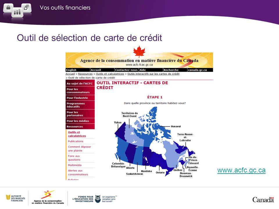 Outil de sélection de carte de crédit www.acfc.gc.ca