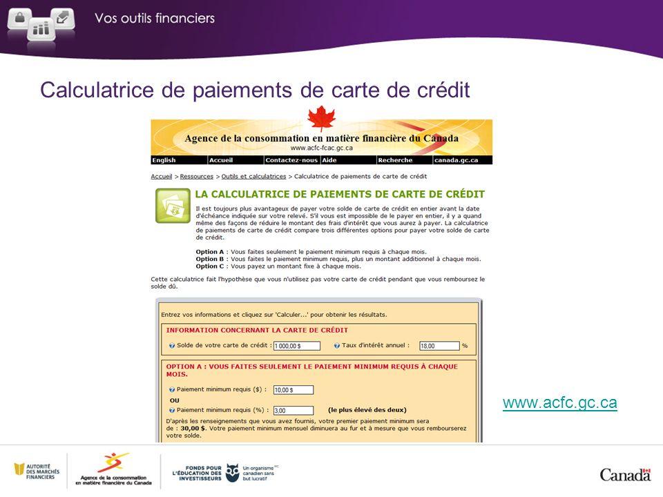 Calculatrice de paiements de carte de crédit www.acfc.gc.ca