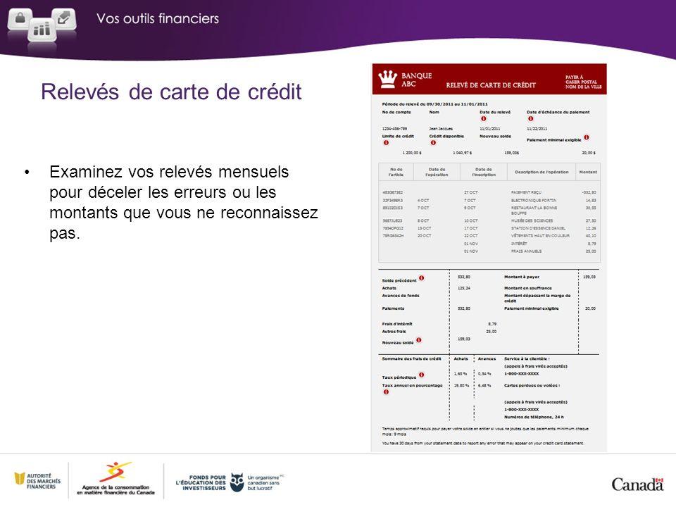 Relevés de carte de crédit Examinez vos relevés mensuels pour déceler les erreurs ou les montants que vous ne reconnaissez pas.