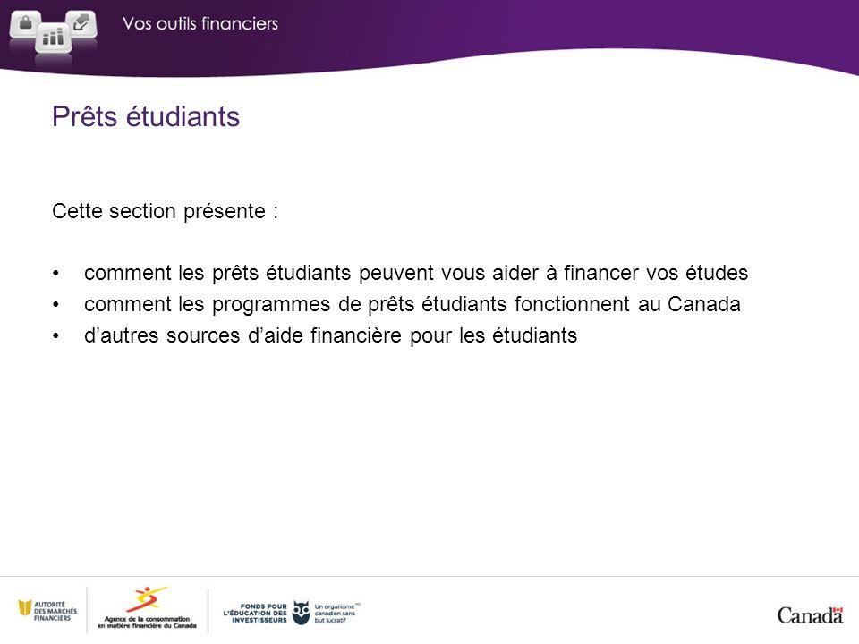 Cette section présente : comment les prêts étudiants peuvent vous aider à financer vos études comment les programmes de prêts étudiants fonctionnent au Canada dautres sources daide financière pour les étudiants