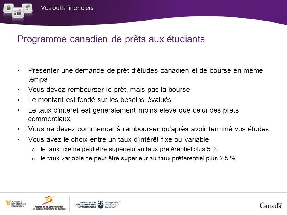 Programme canadien de prêts aux étudiants Présenter une demande de prêt détudes canadien et de bourse en même temps Vous devez rembourser le prêt, mai