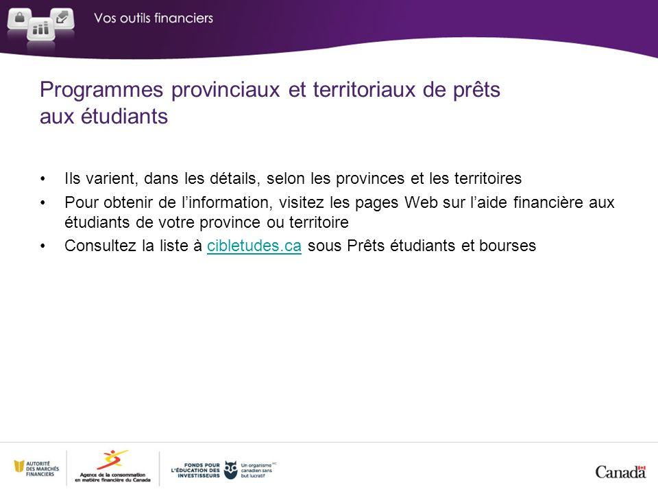Programmes provinciaux et territoriaux de prêts aux étudiants Ils varient, dans les détails, selon les provinces et les territoires Pour obtenir de li