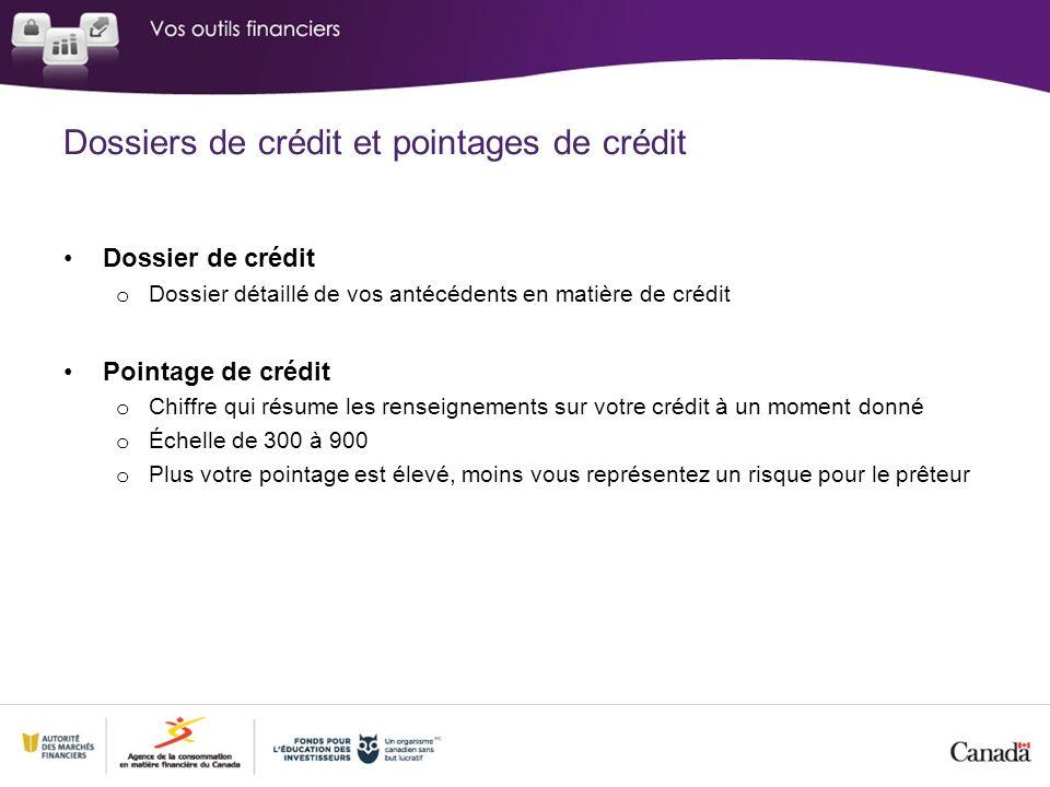 Dossiers de crédit et pointages de crédit Dossier de crédit o Dossier détaillé de vos antécédents en matière de crédit Pointage de crédit o Chiffre qui résume les renseignements sur votre crédit à un moment donné o Échelle de 300 à 900 o Plus votre pointage est élevé, moins vous représentez un risque pour le prêteur