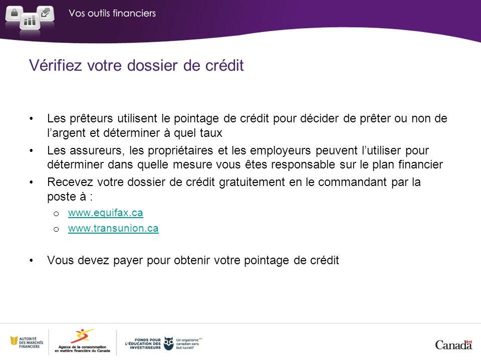 Vérifiez votre dossier de crédit Les prêteurs utilisent le pointage de crédit pour décider de prêter ou non de largent et déterminer à quel taux Les a