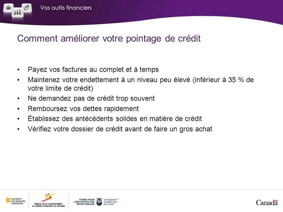 Comment améliorer votre pointage de crédit Payez vos factures au complet et à temps Maintenez votre endettement à un niveau peu élevé (inférieur à 35