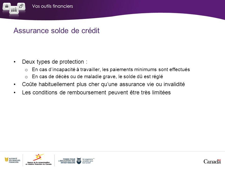Assurance solde de crédit Deux types de protection : o En cas dincapacité à travailler, les paiements minimums sont effectués o En cas de décès ou de