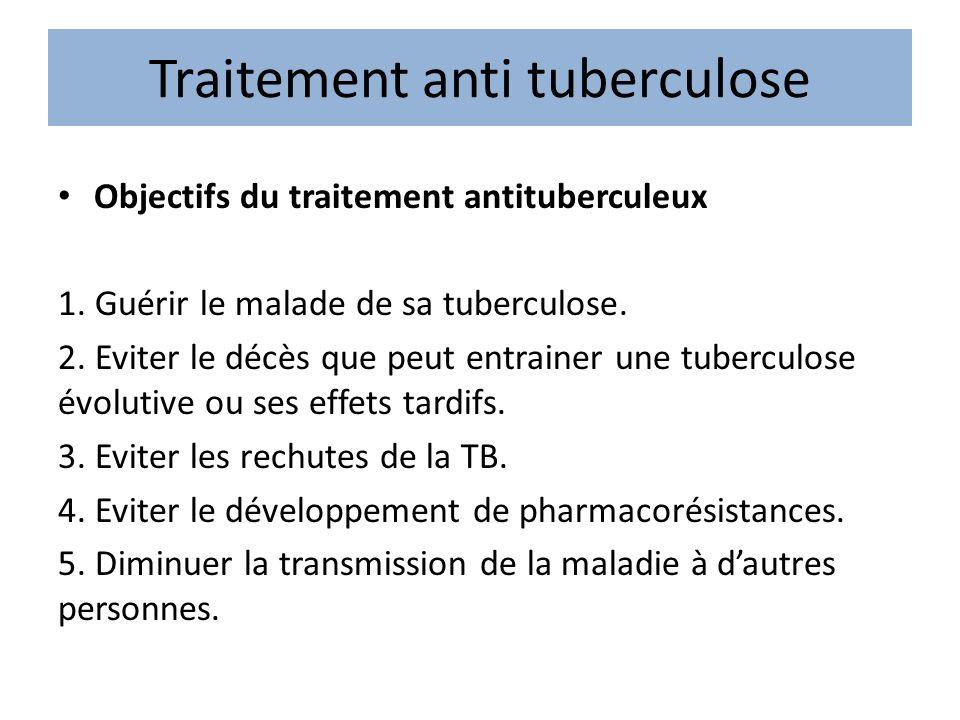 Traitement anti tuberculose Objectifs du traitement antituberculeux 1. Guérir le malade de sa tuberculose. 2. Eviter le décès que peut entrainer une t