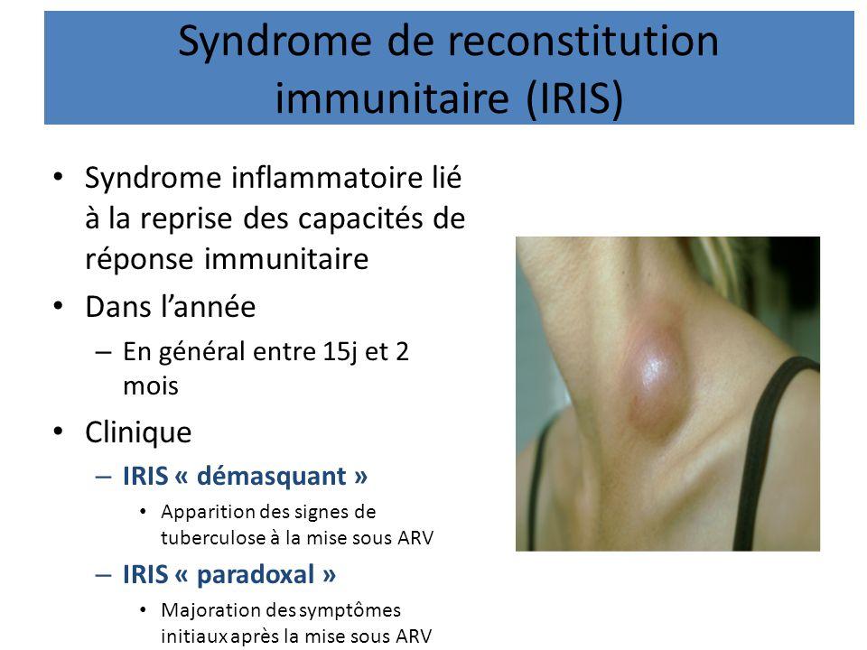 Syndrome de reconstitution immunitaire (IRIS) Syndrome inflammatoire lié à la reprise des capacités de réponse immunitaire Dans lannée – En général en