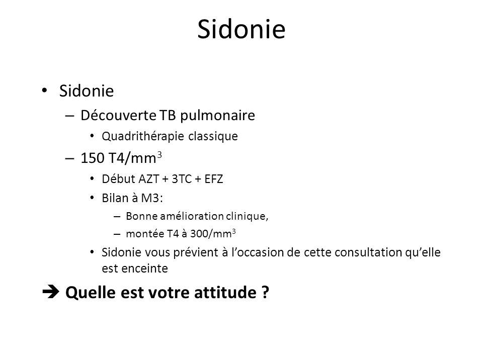 Sidonie – Découverte TB pulmonaire Quadrithérapie classique – 150 T4/mm 3 Début AZT + 3TC + EFZ Bilan à M3: – Bonne amélioration clinique, – montée T4