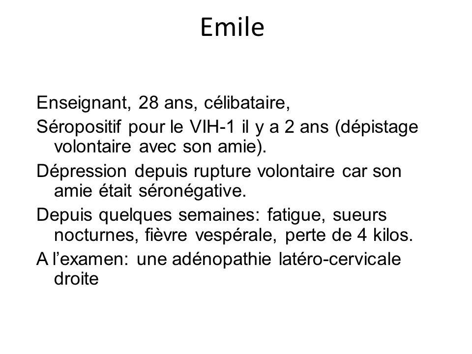 Emile Enseignant, 28 ans, célibataire, Séropositif pour le VIH-1 il y a 2 ans (dépistage volontaire avec son amie). Dépression depuis rupture volontai