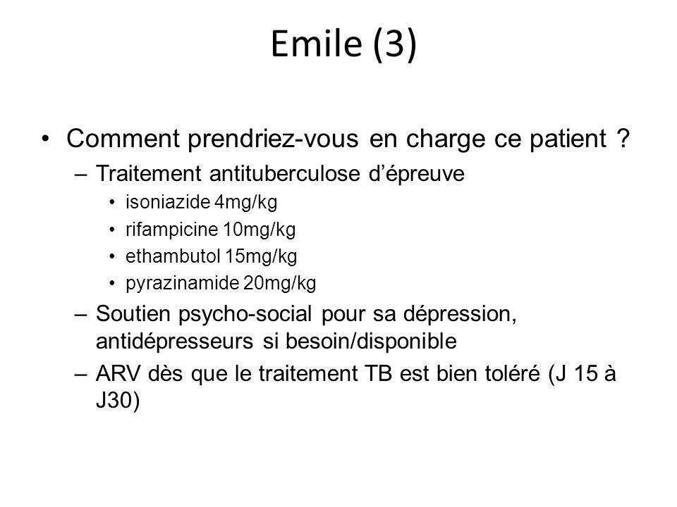 Emile (3) Comment prendriez-vous en charge ce patient ? –Traitement antituberculose dépreuve isoniazide 4mg/kg rifampicine 10mg/kg ethambutol 15mg/kg