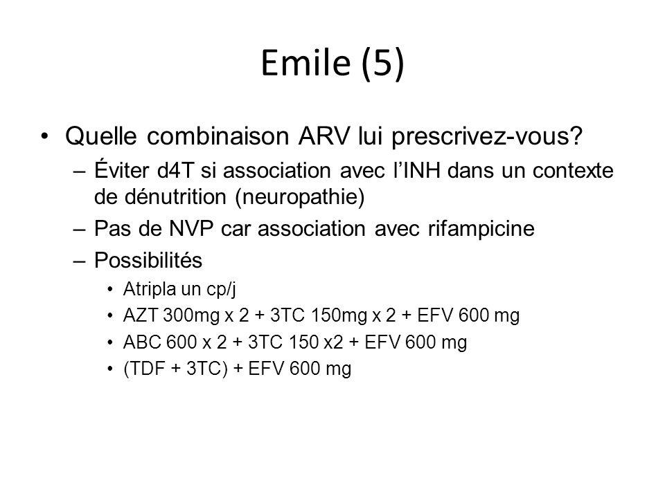 Emile (5) Quelle combinaison ARV lui prescrivez-vous? –Éviter d4T si association avec lINH dans un contexte de dénutrition (neuropathie) –Pas de NVP c