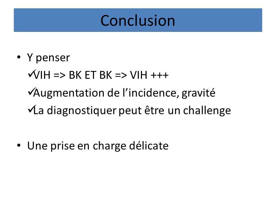 Conclusion Y penser VIH => BK ET BK => VIH +++ Augmentation de lincidence, gravité La diagnostiquer peut être un challenge Une prise en charge délicat