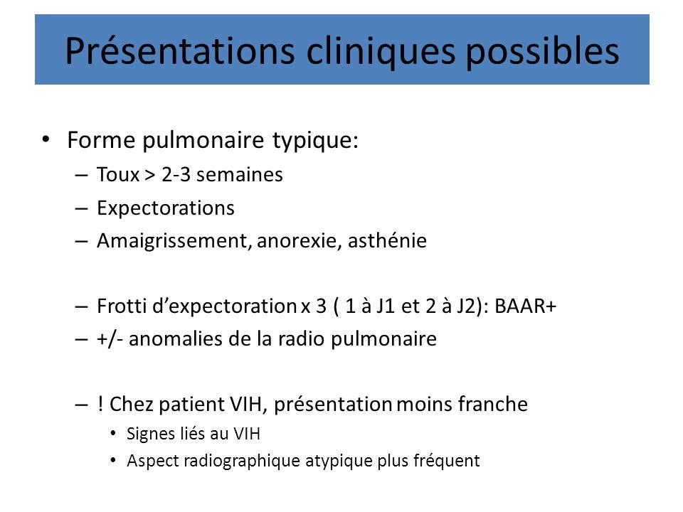 Présentations cliniques possibles Forme pulmonaire typique: – Toux > 2-3 semaines – Expectorations – Amaigrissement, anorexie, asthénie – Frotti dexpe