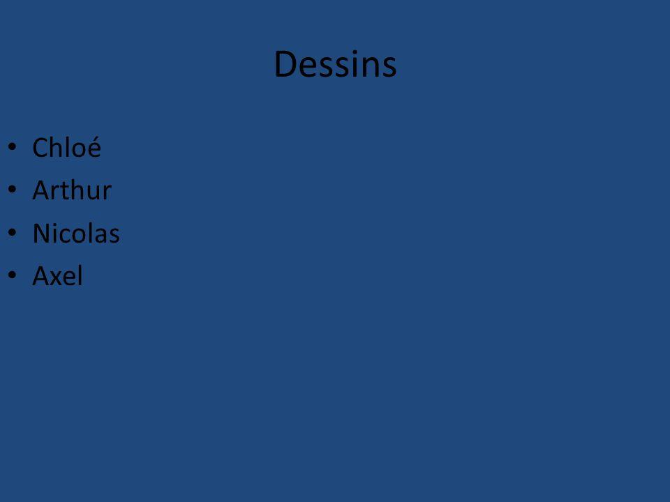 Dessins Chloé Arthur Nicolas Axel
