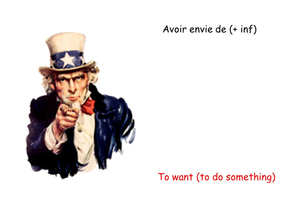 Avoir envie de (+ inf) To want (to do something)
