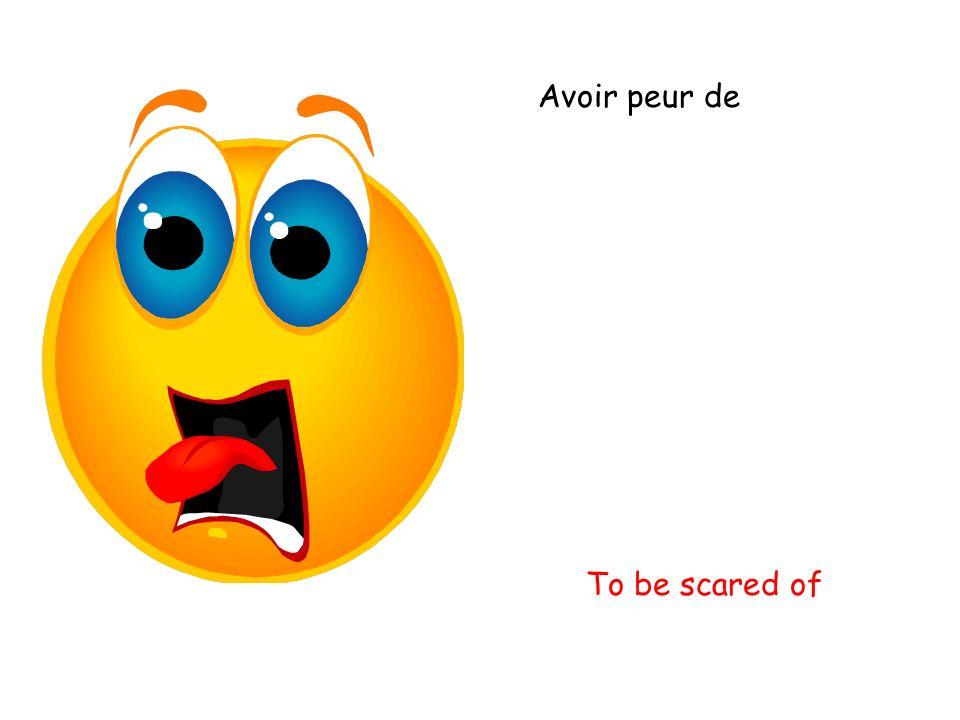 Avoir peur de To be scared of