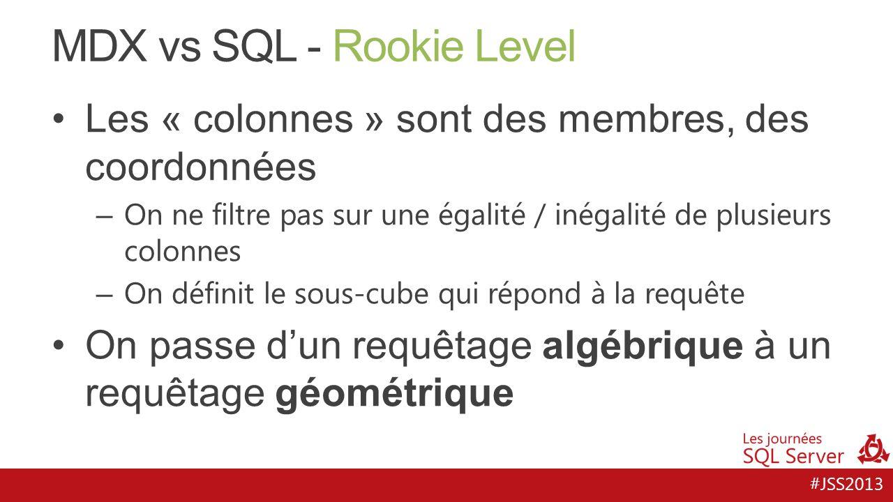 #JSS2013 MDX vs SQL - Rookie Level Les « colonnes » sont des membres, des coordonnées – On ne filtre pas sur une égalité / inégalité de plusieurs colo