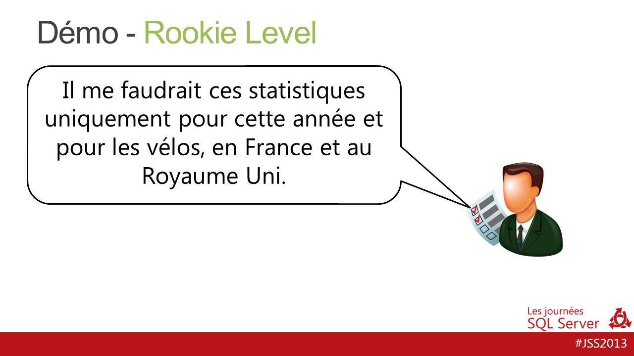 #JSS2013 Démo - Rookie Level Il me faudrait ces statistiques uniquement pour cette année et pour les vélos, en France et au Royaume Uni.
