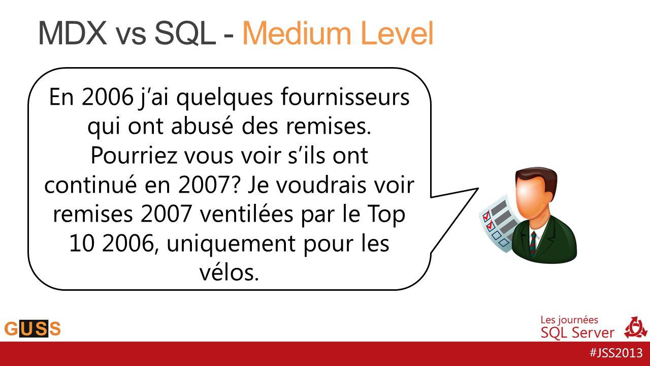 #JSS2013 MDX vs SQL - Medium Level En 2006 jai quelques fournisseurs qui ont abusé des remises. Pourriez vous voir sils ont continué en 2007? Je voudr