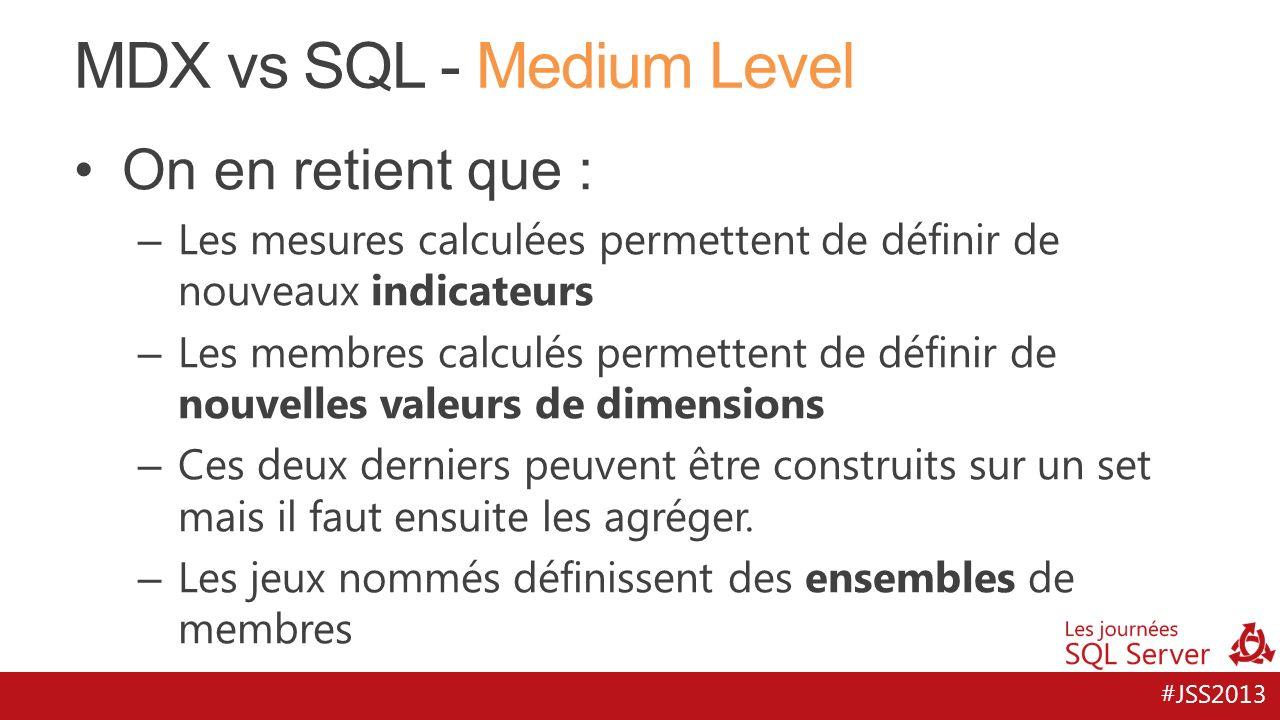 #JSS2013 MDX vs SQL - Medium Level On en retient que : – Les mesures calculées permettent de définir de nouveaux indicateurs – Les membres calculés pe