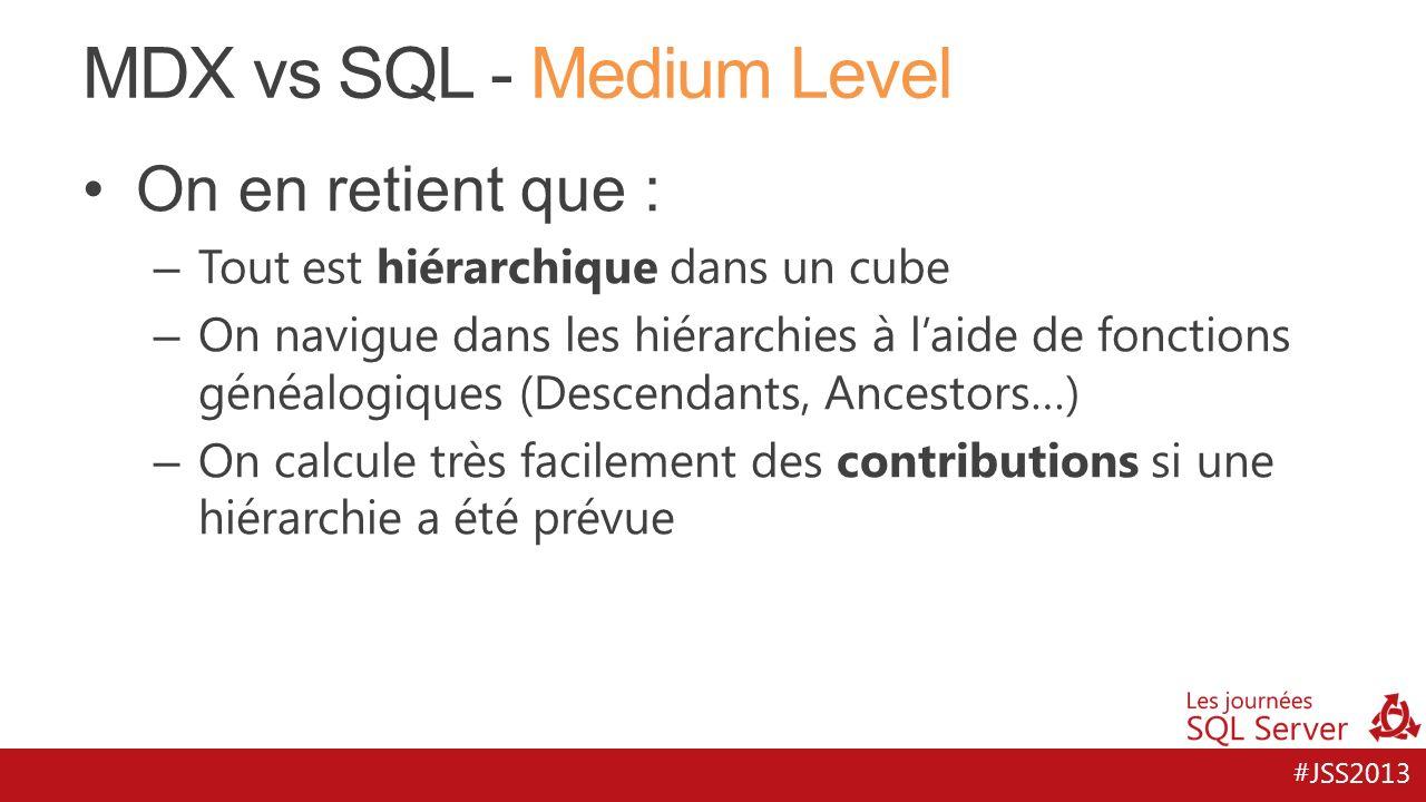 #JSS2013 MDX vs SQL - Medium Level On en retient que : – Tout est hiérarchique dans un cube – On navigue dans les hiérarchies à laide de fonctions gén