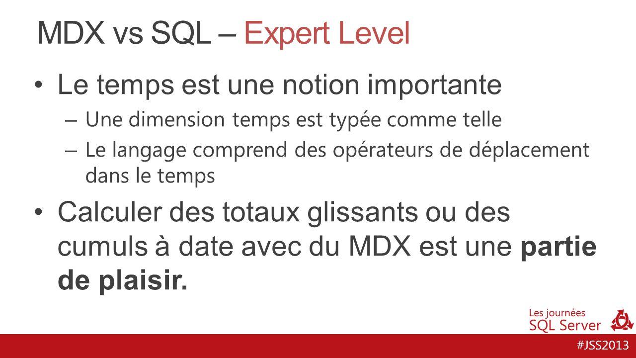 #JSS2013 MDX vs SQL – Expert Level Le temps est une notion importante – Une dimension temps est typée comme telle – Le langage comprend des opérateurs