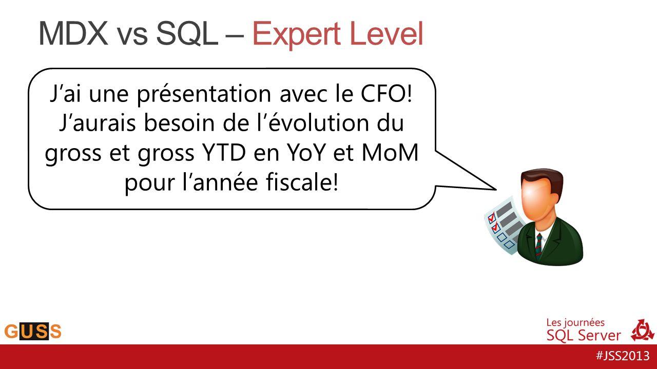 #JSS2013 MDX vs SQL – Expert Level Jai une présentation avec le CFO! Jaurais besoin de lévolution du gross et gross YTD en YoY et MoM pour lannée fisc
