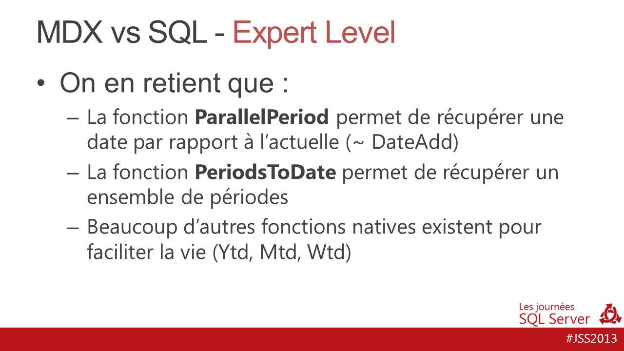 #JSS2013 MDX vs SQL - Expert Level On en retient que : – La fonction ParallelPeriod permet de récupérer une date par rapport à lactuelle (~ DateAdd) –