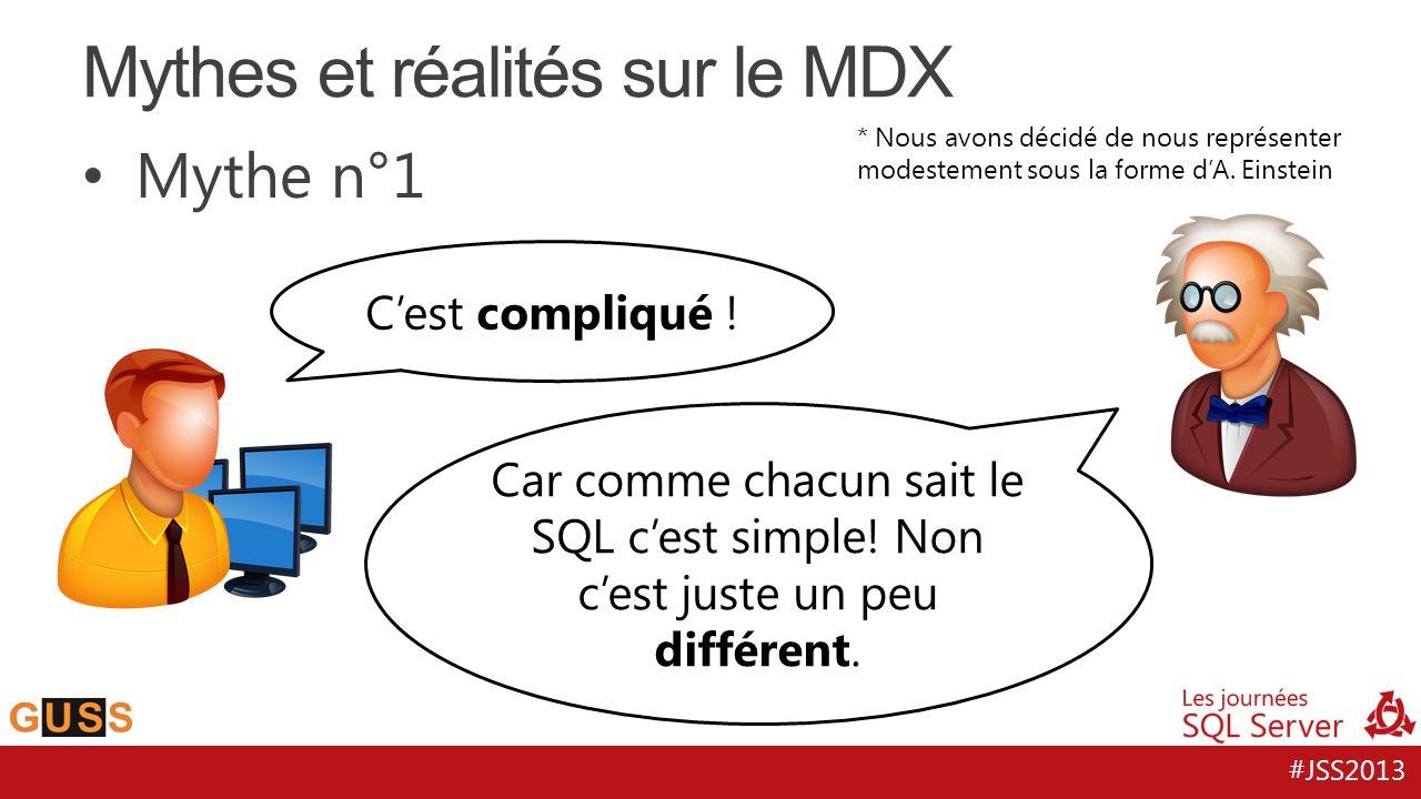 #JSS2013 Mythe n°1 Mythes et réalités sur le MDX Cest compliqué ! Car comme chacun sait le SQL cest simple! Non cest juste un peu différent. * Nous av