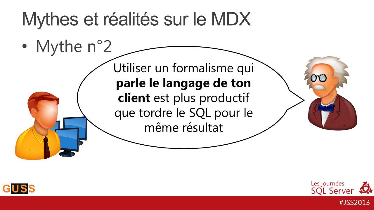 #JSS2013 Mythe n°2 Mythes et réalités sur le MDX Utiliser un formalisme qui parle le langage de ton client est plus productif que tordre le SQL pour l