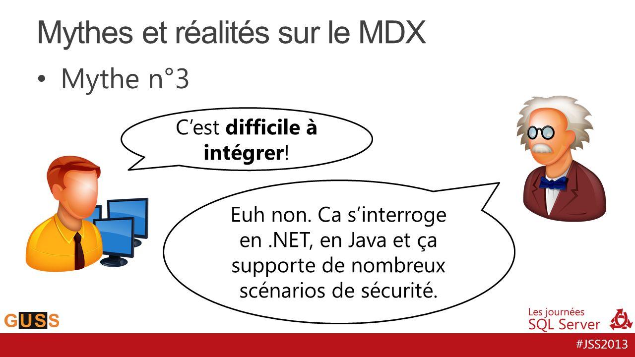 #JSS2013 MDX vs SQL - Medium Level On en retient que : – Les mesures calculées permettent de définir de nouveaux indicateurs – Les membres calculés permettent de définir de nouvelles valeurs de dimensions – Ces deux derniers peuvent être construits sur un set mais il faut ensuite les agréger.
