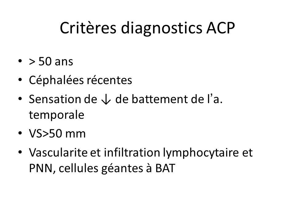 Critères diagnostics ACP > 50 ans Céphalées récentes Sensation de de battement de l a. temporale VS>50 mm Vascularite et infiltration lymphocytaire et
