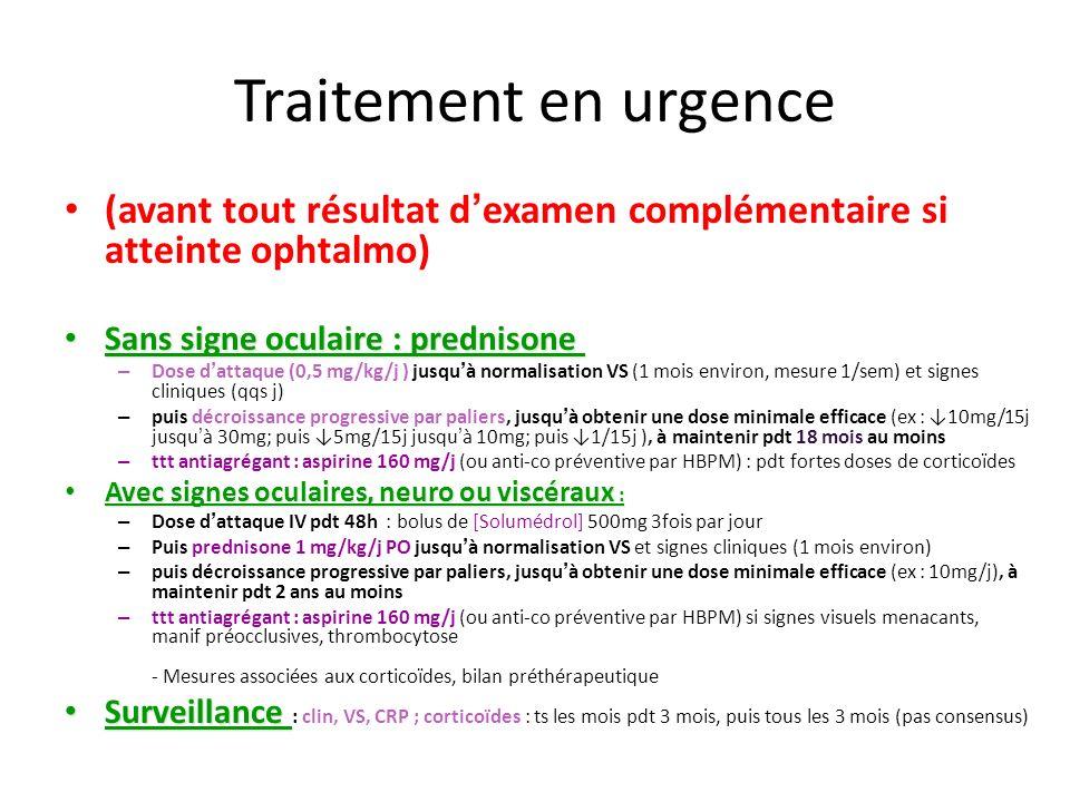 Traitement en urgence (avant tout résultat d examen complémentaire si atteinte ophtalmo) Sans signe oculaire : prednisone Sans signe oculaire : predni