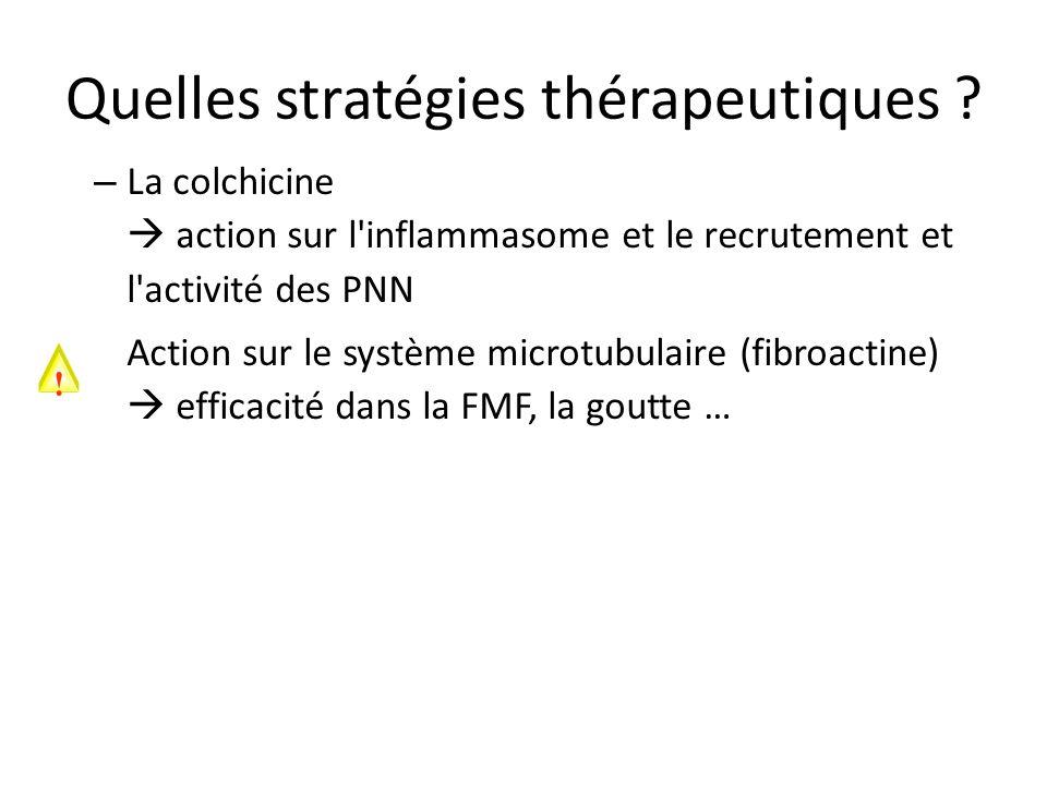 Quelles stratégies thérapeutiques ? – La colchicine action sur l'inflammasome et le recrutement et l'activité des PNN Action sur le système microtubul