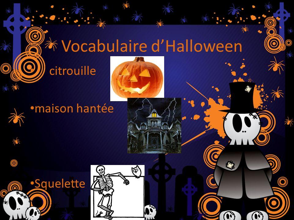 Vocabulaire dHalloween citrouille maison hantée Squelette