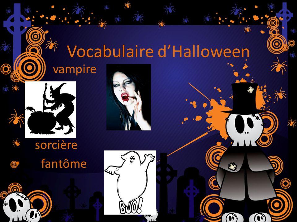 Vocabulaire dHalloween vampire sorcière fantôme