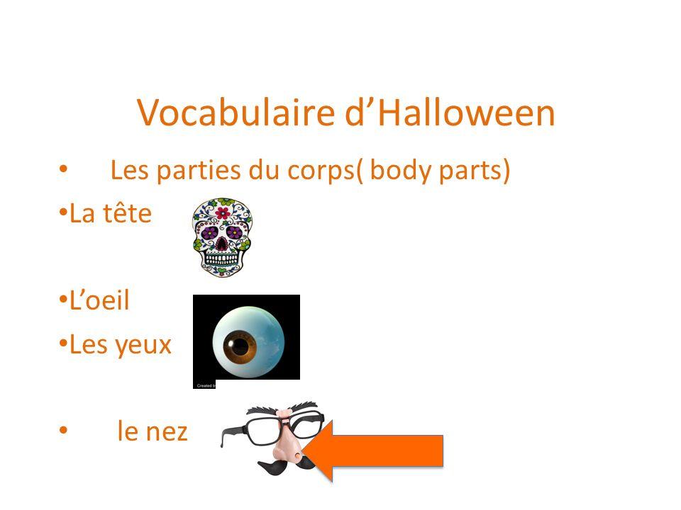 Vocabulaire dHalloween Les parties du corps( body parts) La tête Loeil Les yeux le nez