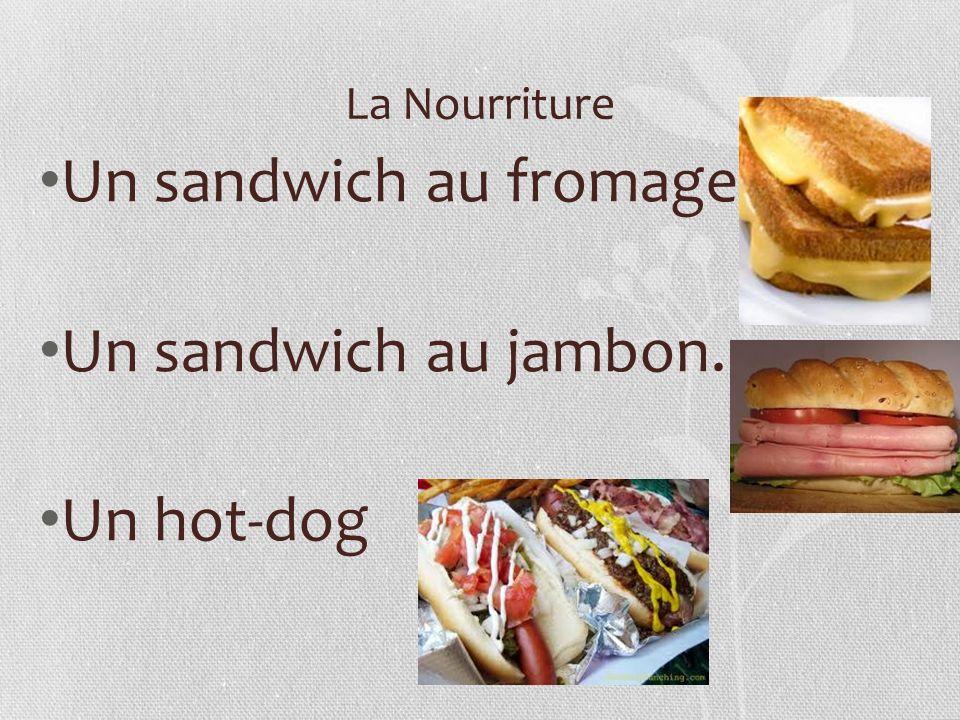 La Nourriture Un sandwich au fromage. Un sandwich au jambon. Un hot-dog