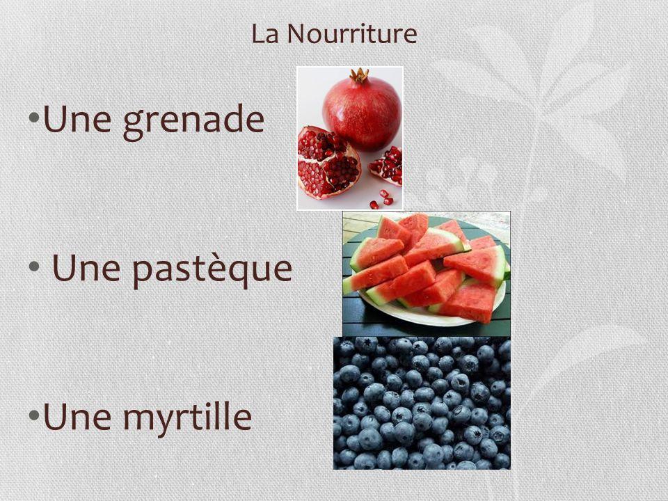 La Nourriture Une grenade Une pastèque Une myrtille