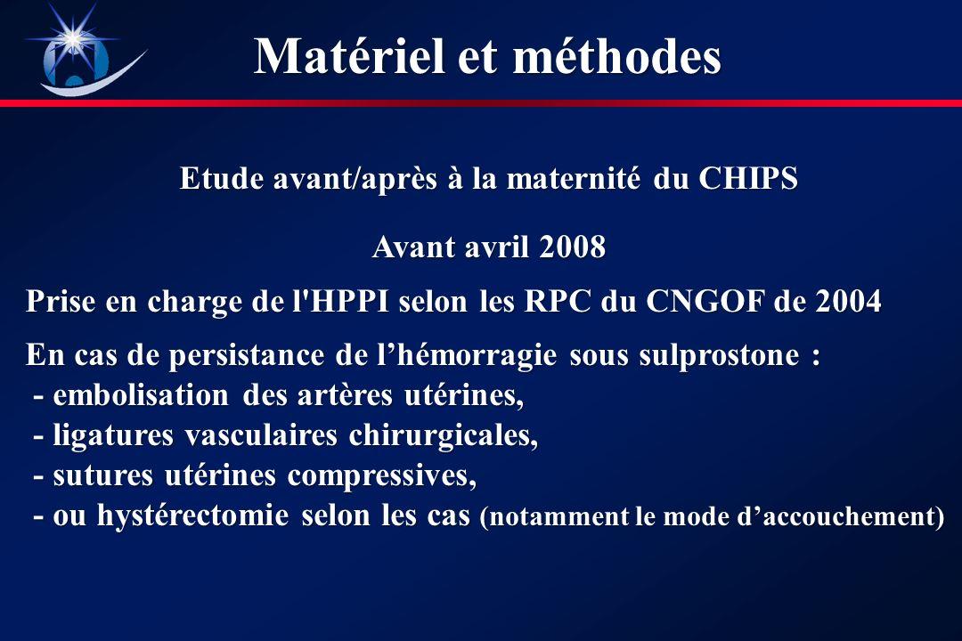 Etude avant/après à la maternité du CHIPS Avant avril 2008 Prise en charge de l HPPI selon les RPC du CNGOF de 2004 En cas de persistance de lhémorragie sous sulprostone : En cas de persistance de lhémorragie sous sulprostone : - embolisation des artères utérines, - embolisation des artères utérines, - ligatures vasculaires chirurgicales, - ligatures vasculaires chirurgicales, - sutures utérines compressives, - sutures utérines compressives, - ou hystérectomie selon les cas (notamment le mode daccouchement) - ou hystérectomie selon les cas (notamment le mode daccouchement) Matériel et méthodes
