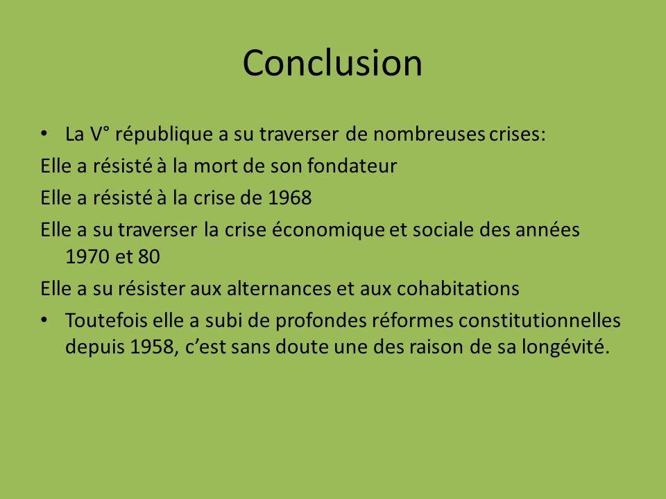 Conclusion La V° république a su traverser de nombreuses crises: Elle a résisté à la mort de son fondateur Elle a résisté à la crise de 1968 Elle a su
