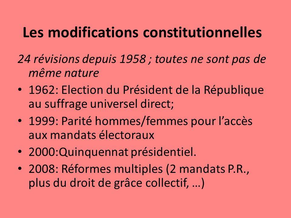 Les modifications constitutionnelles 24 révisions depuis 1958 ; toutes ne sont pas de même nature 1962: Election du Président de la République au suff