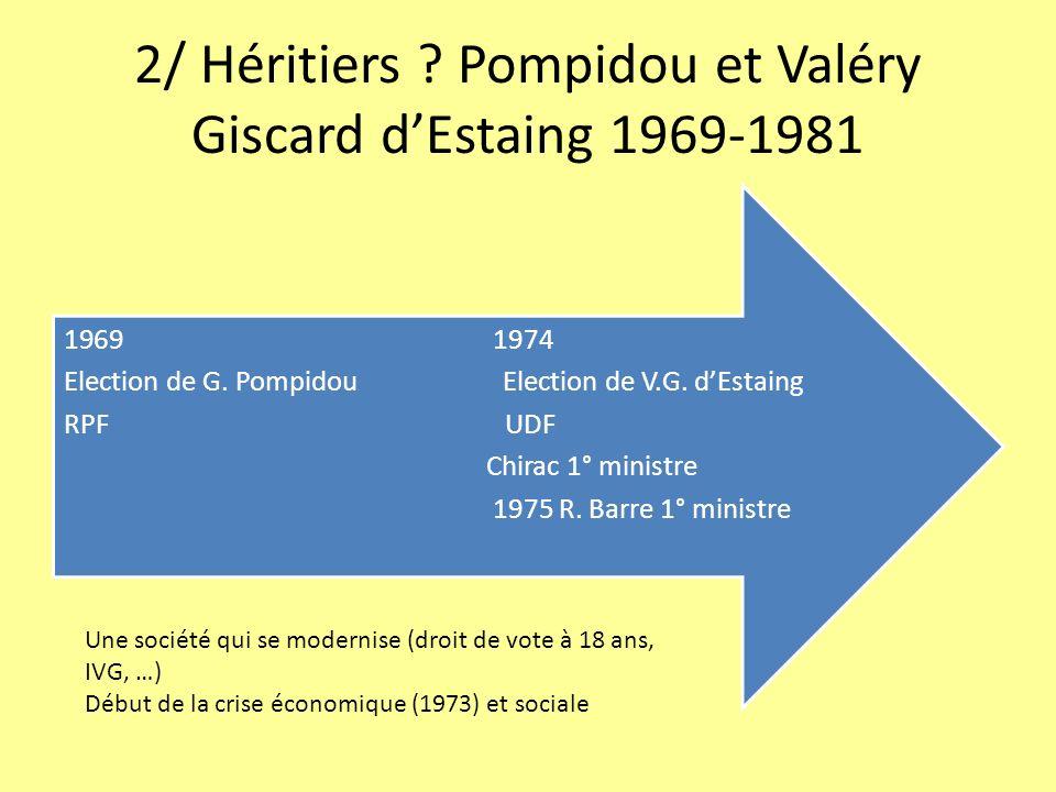 2/ Héritiers ? Pompidou et Valéry Giscard dEstaing 1969-1981 1969 1974 Election de G. Pompidou Election de V.G. dEstaing RPF UDF Chirac 1° ministre 19